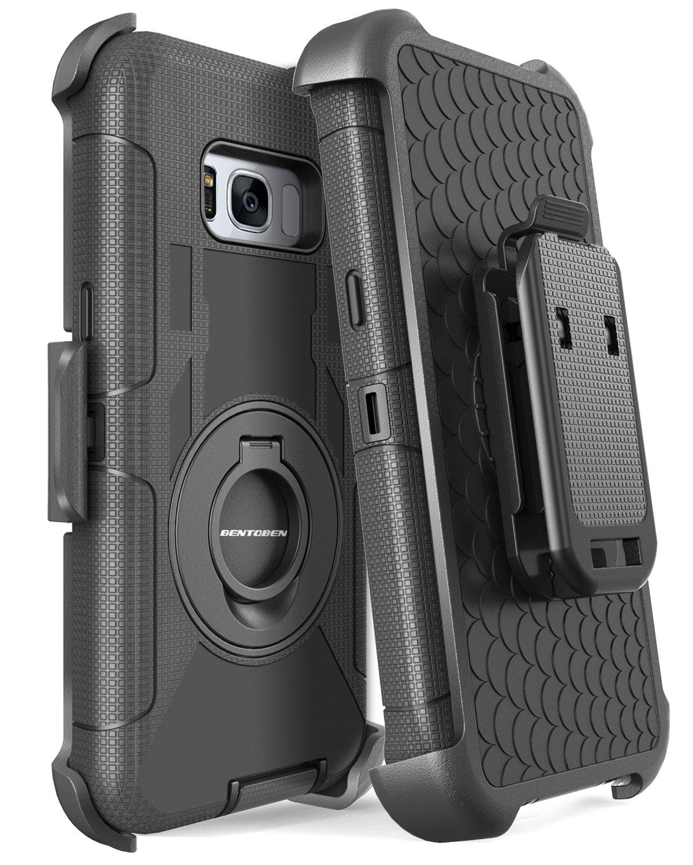 Galaxy S8 Plus Case, Samsung Galaxy S8 Plus Case, BENTOBEN Shockproof Heavy Duty Kickstand Belt Clip Hybrid Full Body Rugged Holster Protective Case for Samsung Galaxy S8 Plus (6.2 inch), Black