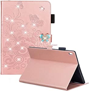 Lenovo Tab 4 10 / Tab 4 10 Plus Case - Slim Folio Stand 3D Bling Butterfly Magnetic Premium PU Leather Protective Cover with Card Holders for Lenovo Tab 4 10.1 inch Tablet 2017 Release, Rose Gold