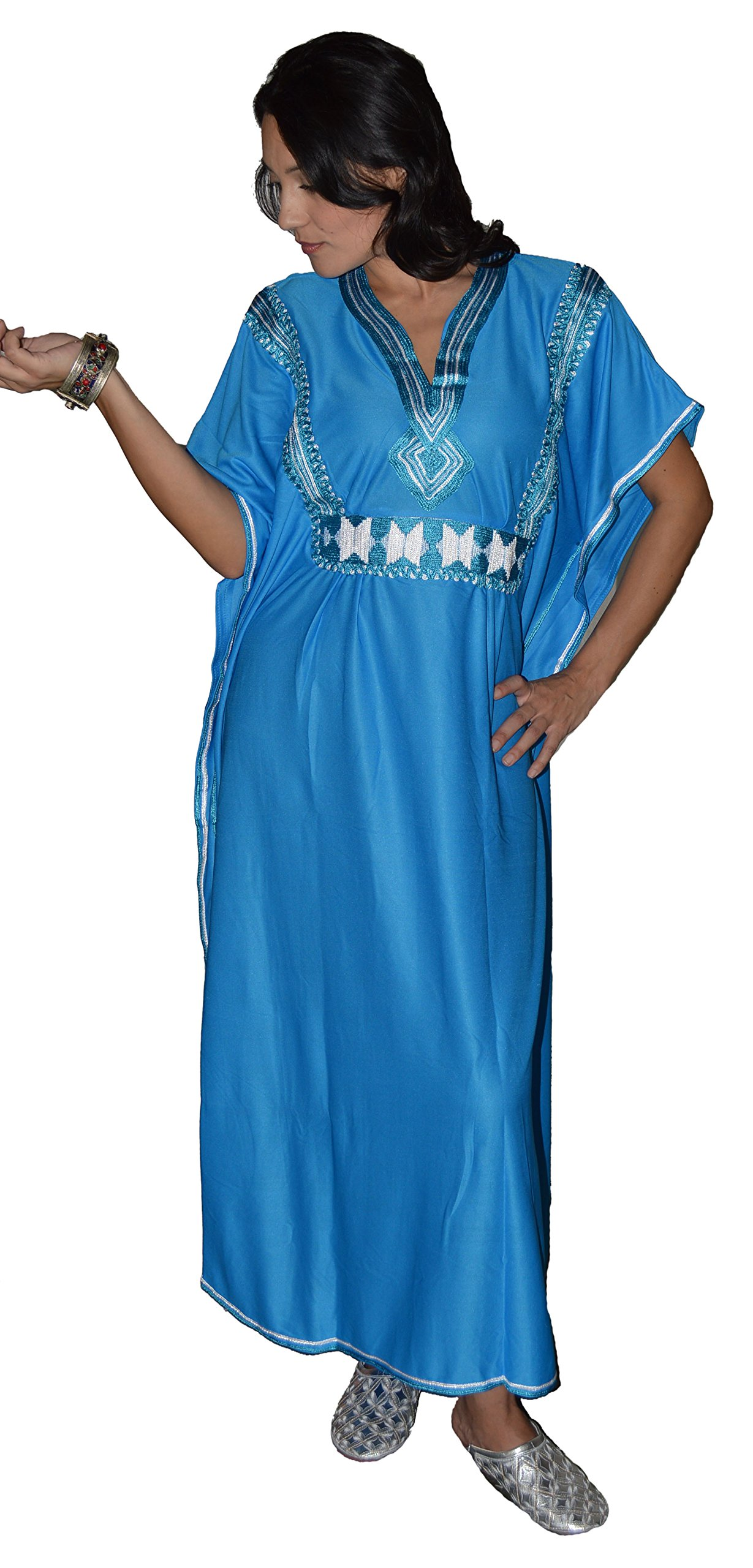 Moroccan Caftans Women Breathable Handmade Butterfly Style Embroidery Ethnic Design Blue by Moroccan Caftans (Image #3)