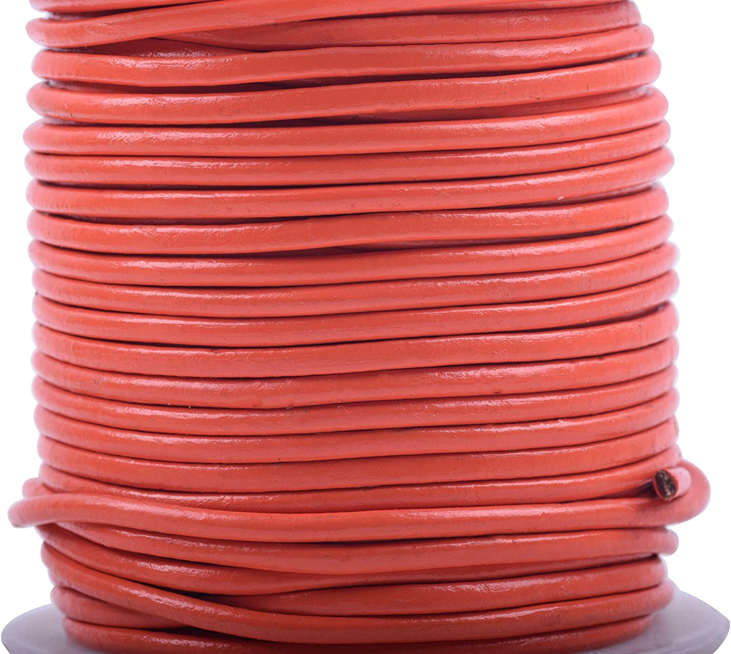 KONMAY 5 Yards 5.0mm Solid Round Real Leather Cord for Jewelry Making Crafting Beading Natural