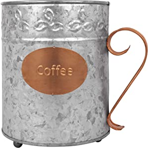Autumn Alley Rustic Galvanized Coffee Pod K-cup Holder | Coffee Pod Basket | Large Coffee Mug is Perfect For Coffee Bar Accessories Storage | Copper Accents Add Farmhouse Charm to your Counter