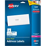 "Avery Easy Peel Address Labels for Laser Printers 1"" x 2-5/8"", Pack of 750 (5260)"
