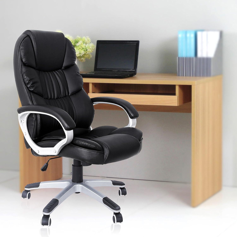 SONGMICS Silla ergonómica de oficina estudio con ruedas OBG24B