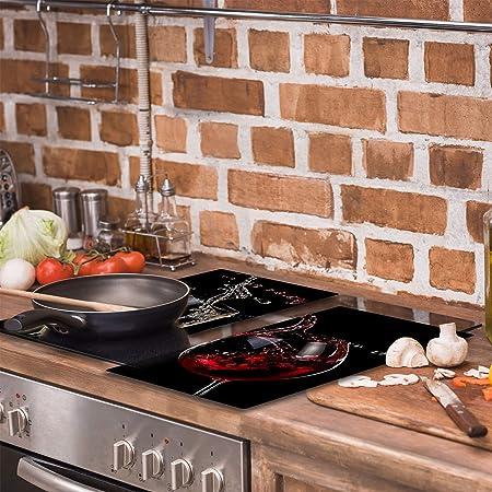 QTA - Placa protectora de vitrocerámica 2 x 30 x 52 cm 2 piezas cocina eléctrica universal para inducción protección contra salpicaduras tabla de cortar de vidrio templado como decoración Vino
