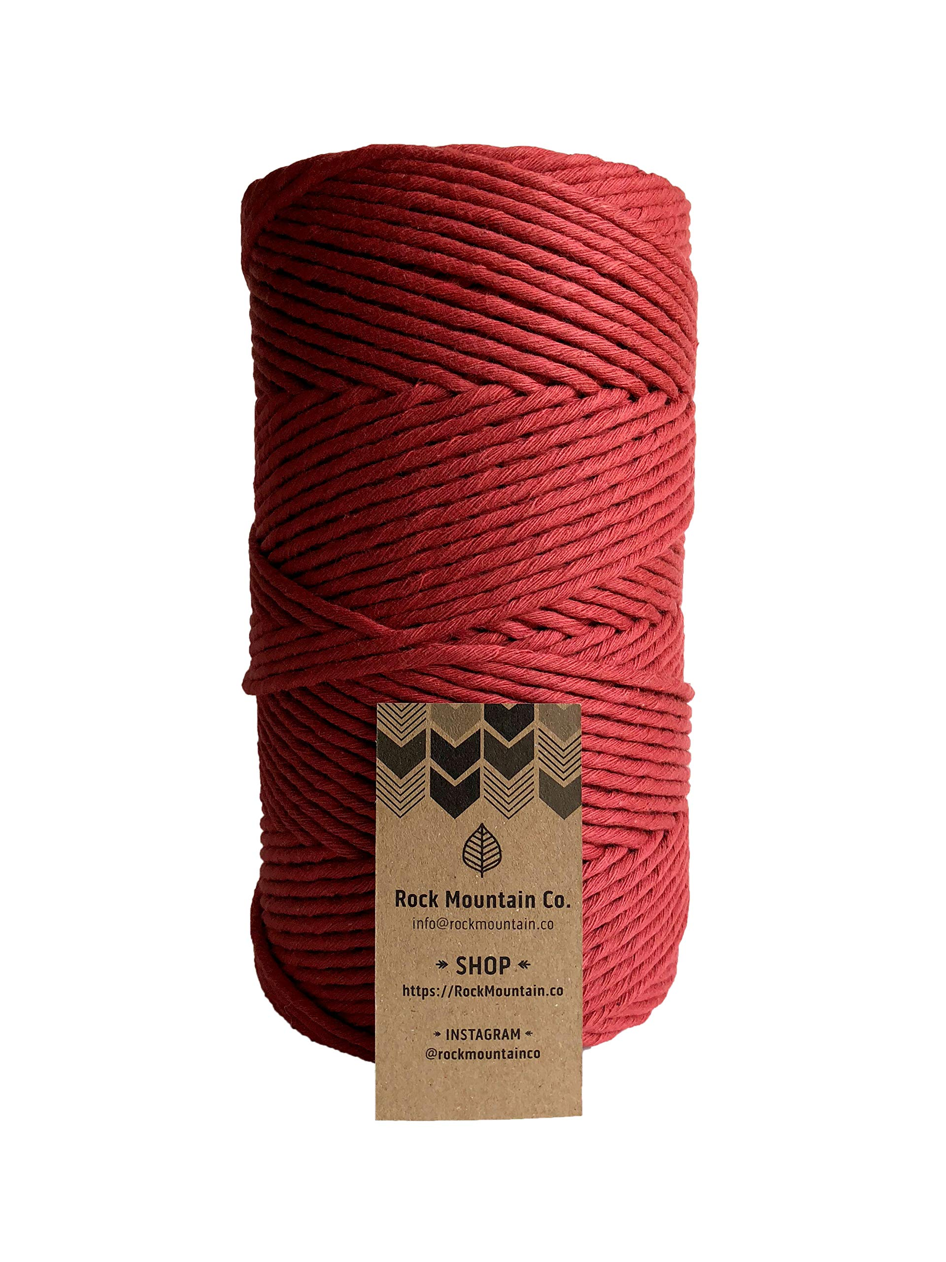 Red Macrame Cord / 4mm Single Strand Cotton Fiber Art Rope/Fruit Punch