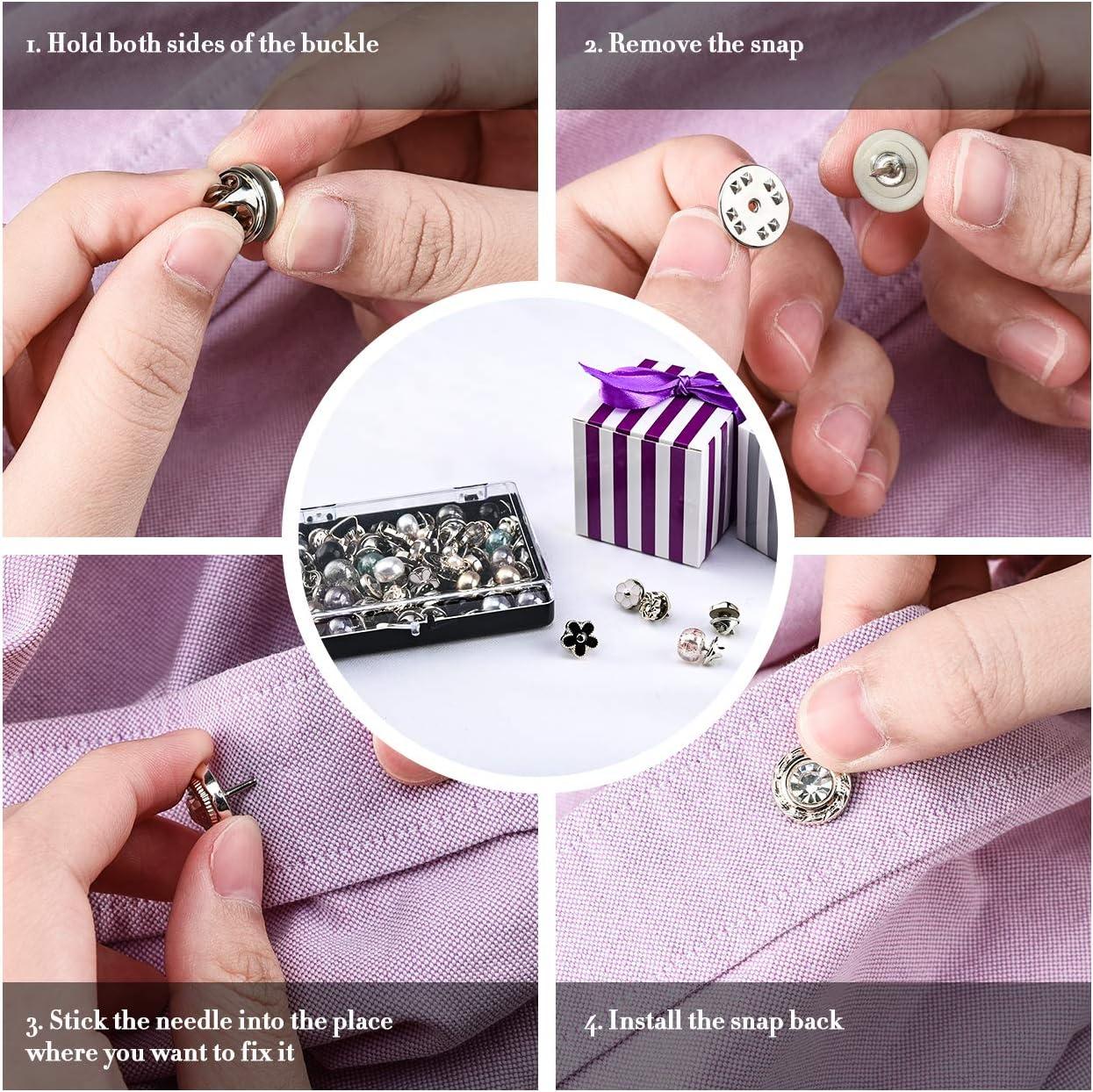 Vathery 50 Pcs Boutons de Broche de Chemise Femme S/écurit/é Pin de Bouton Couvrant pour V/êtements Robe