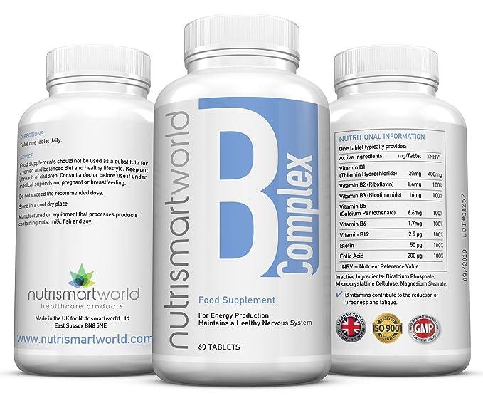 Complejo de Vitamina B - 60 Comprimidos (Suministro para 2 meses) - Contiene Ocho Vitaminas del grupo B por Comprimido: B1, B2, B3, B5, B6, B12, ...