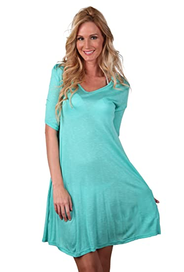 ddde40654791c Ingear Short Summer Beach Casual Modern Tee Rayon Dress Cover Up at Amazon  Women's Clothing store: