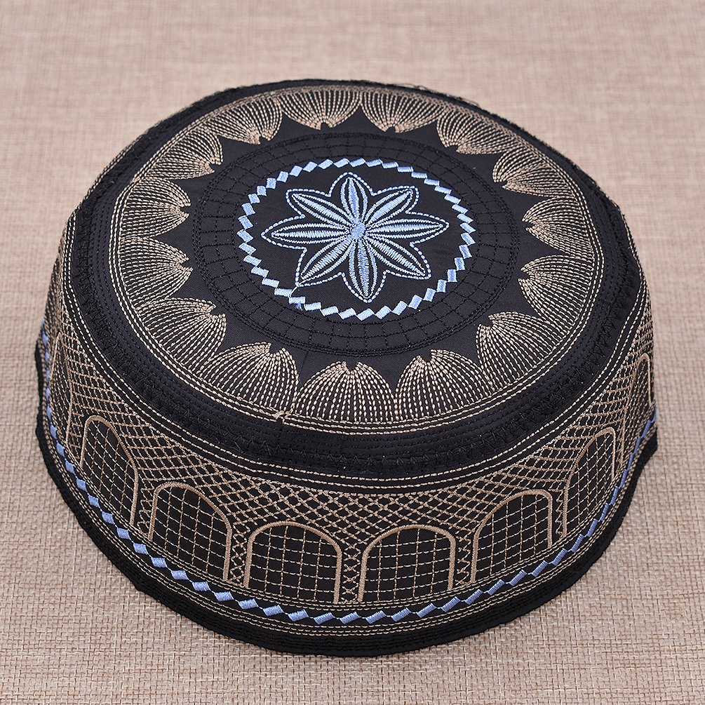 Hongma Cappello Uomo Islamico Musulmano Kufi Cap Cappello da Ricamo Berretto di Namaz Cappello di Preghiera Turkish Skull Cap