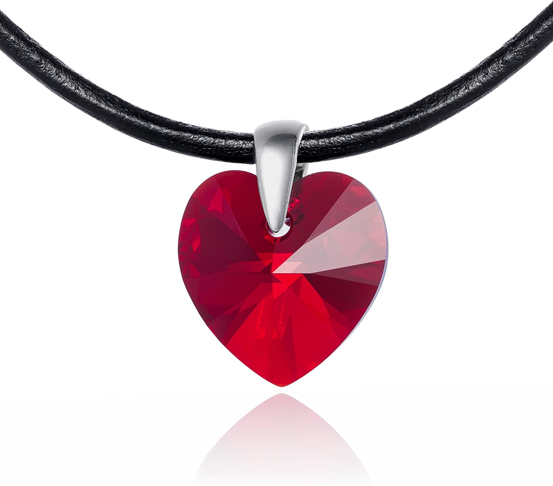 LillyMarie Cadena para Mujer de Cuero, con Elementos Swarovski Rojo, Colgante de corazón, 42 cm, con una Bolsa