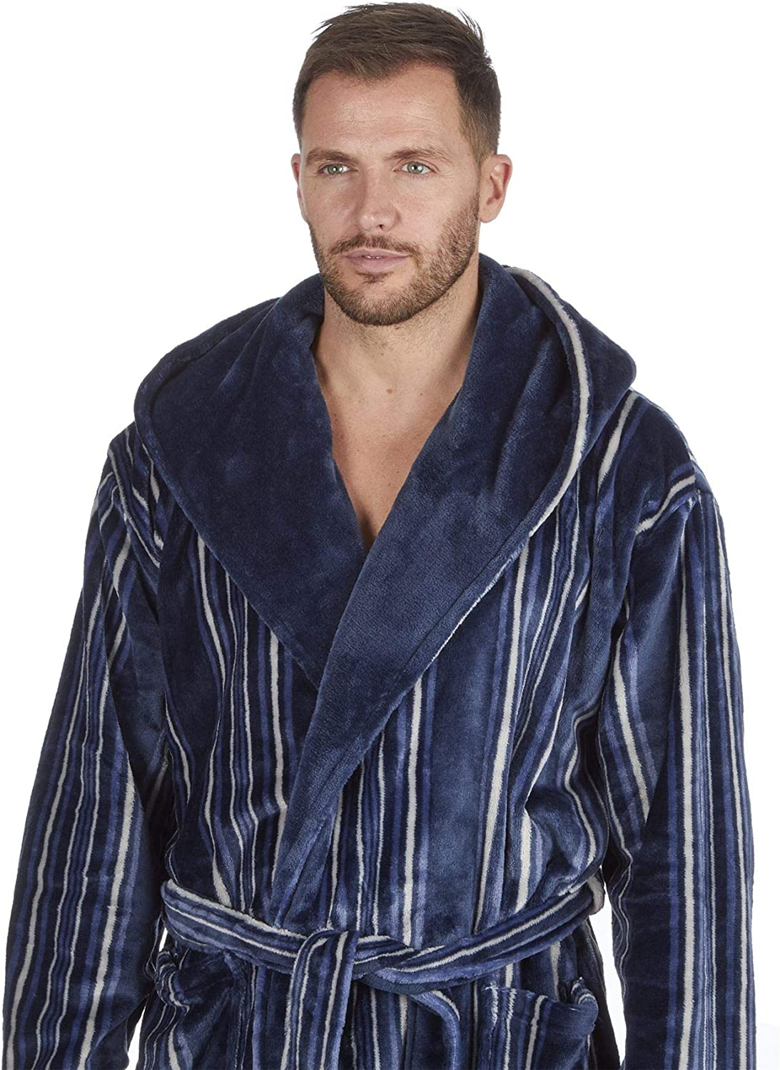 Men Designed Super Soft Fleece Dressing Gown Bath Robe Thick Warm Snuggle Hooded-Non Hooded
