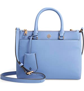b91eb5192c72 Tory Burch Robinson Small Double Zip Leather Tote - Bow Blue