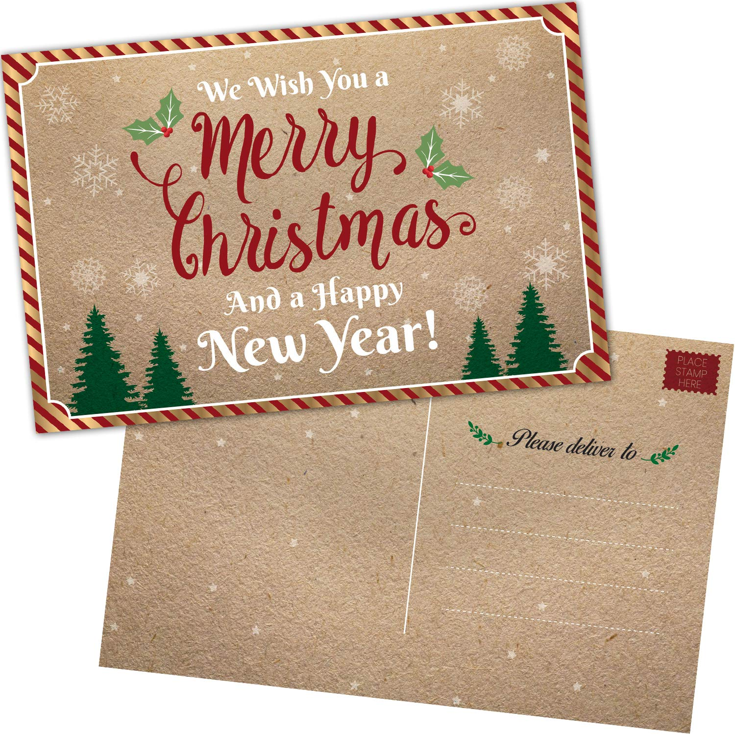 50 Christmas Cards: Happy Holiday and Happy New Years Cards 2019 - Bulk Postcards Set with Season's Greetings Message - Kraft Thank You Notes for Business, Office, Kids and More T Marie