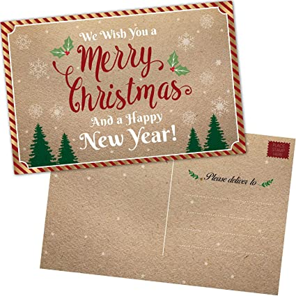 Amazon 50 christmas cards happy holiday and happy new year 50 christmas cards happy holiday and happy new year cards 2019 bulk postcards set m4hsunfo