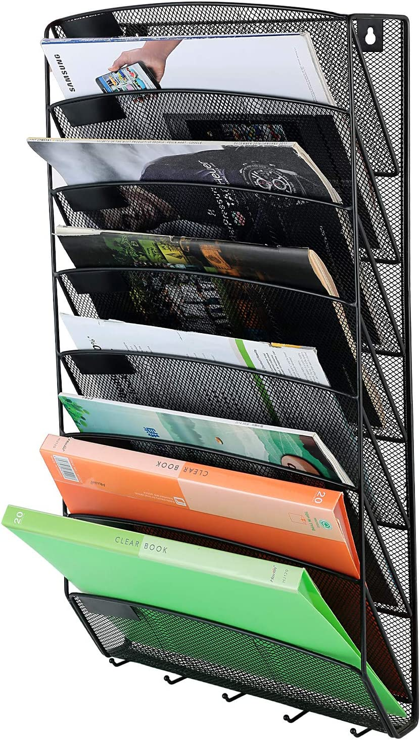 Samstar 8 Pocket Wall File Organizer, Mesh Hanging File Holder Wall Mount Paper Letter Organizer, Magazine Rack, Black : Office Products