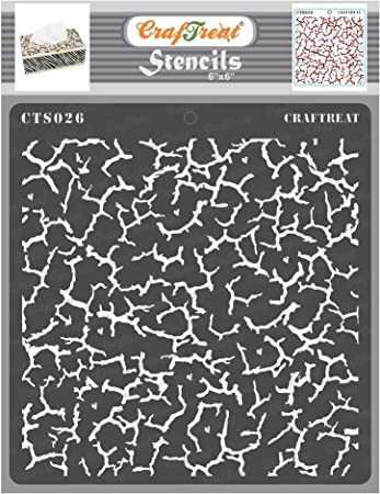 12x12 Inches Crocodile Crackle Fabric CrafTreat Crackle Pattern Stencils for painting on Wood Reusable DIY Art and Craft Stencils Crakle Wall and Tile Paper Floor Texture Templates Canvas