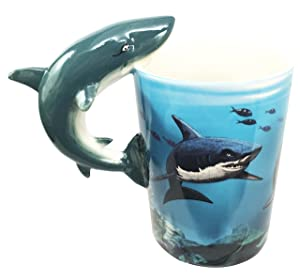 Ocean Marine Reef Great White Shark 12oz Ceramic Mug Coffee Cup Home & Kitchen Decor Accessory