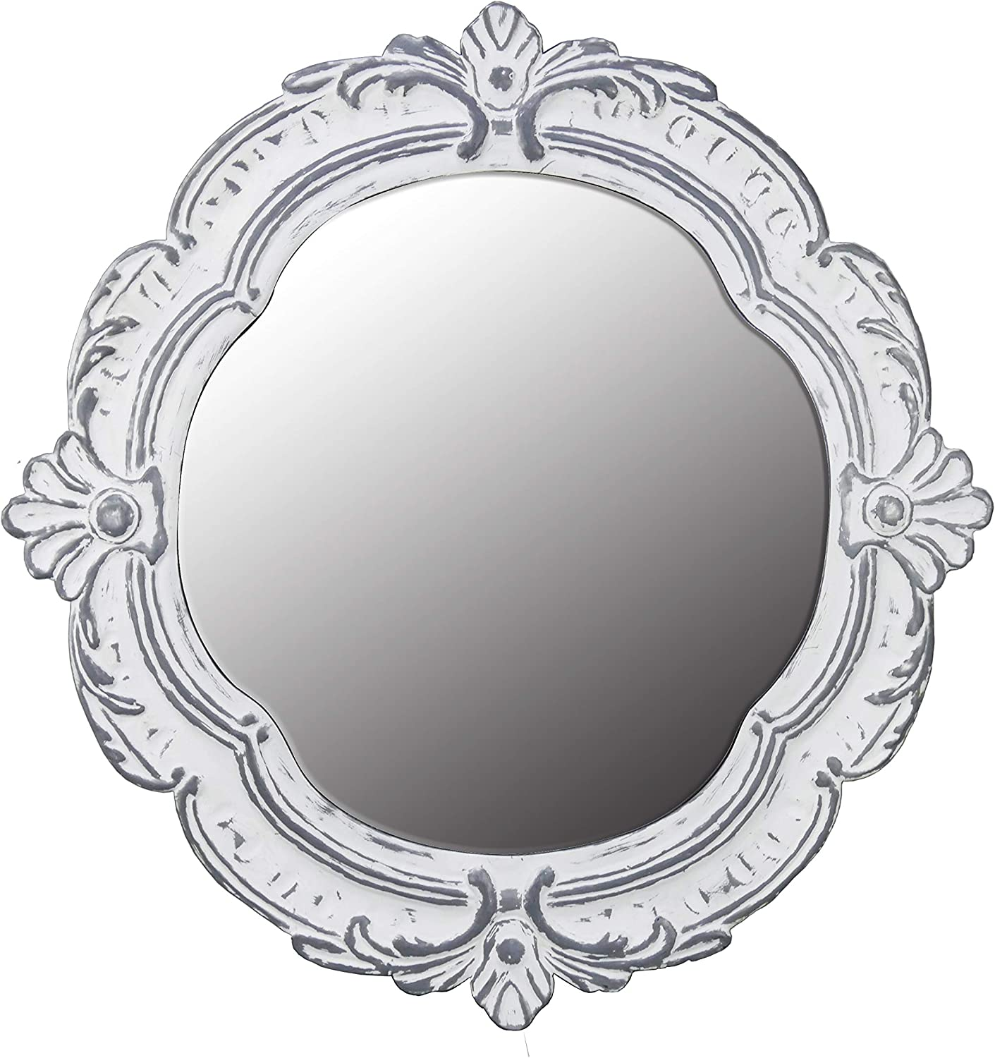NIKKY HOME 26 Inch Decorative Metal Wall Mirror, White
