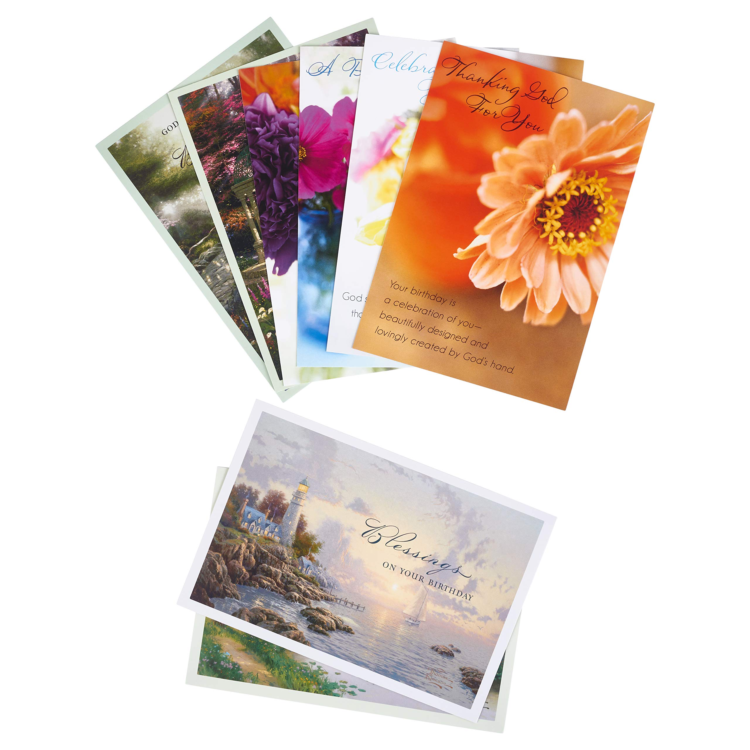 DaySpring Birthday Card Variety Pack 12 Floral Kinkade 24 Cards With Envelopes