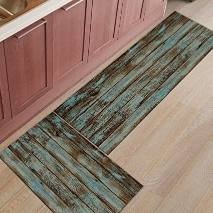 Kitchen Rug Mat Set of 2 Piece Rustic,Retro Planks Inside Outside Entrance  Rugs Runner Rug Home Decor,23.6x35.4in+23.6x70.9in