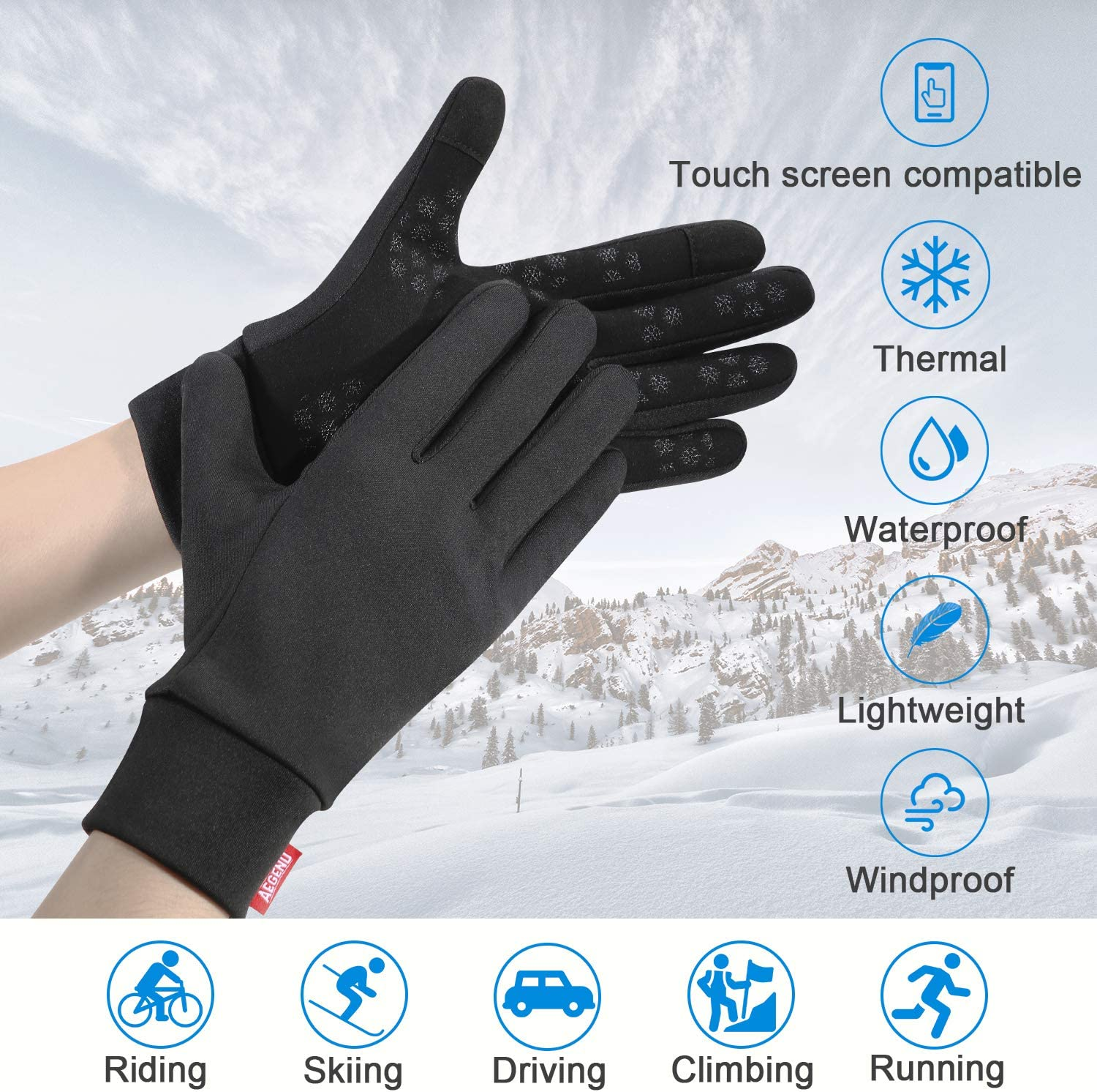 Walking Riding Aegend Waterproof Splash-Resistant Sports Running Gloves Touch Screen Lightweight Liner Gloves For Running Working Outdoor for Men Women In Winter Or Fall Black