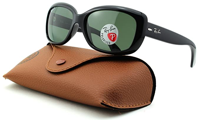 eb40d71e92 Amazon.com  Ray-Ban RB4101 Jackie OHH Polarized Rectangular Sunglasses ( Black Frame
