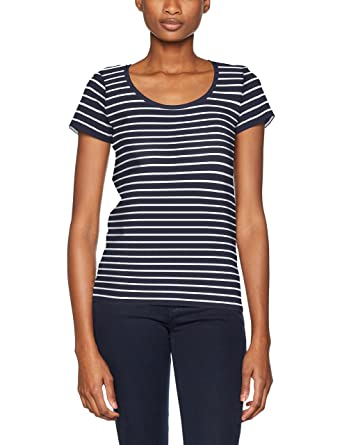 7a509b334c921f edc by Esprit Women's 047CC1K056 Crew Neck Short Sleeve T - Shirt - Blue - 8