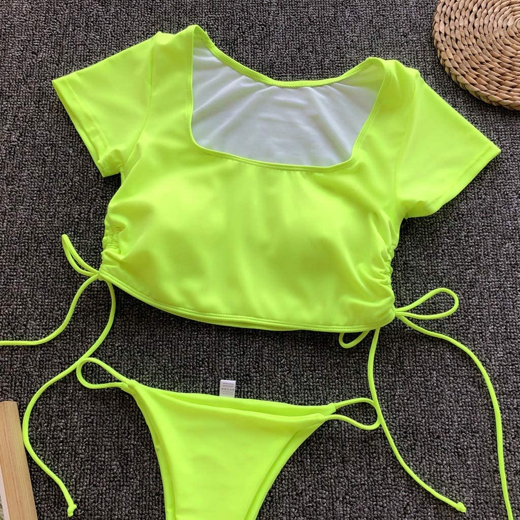 Women Short Sleeve Two Piece Swimsuit Short Sleeve Swimming Crop Top High Waist Bikini Sets 2 PCS Swimwear by Lowprofile