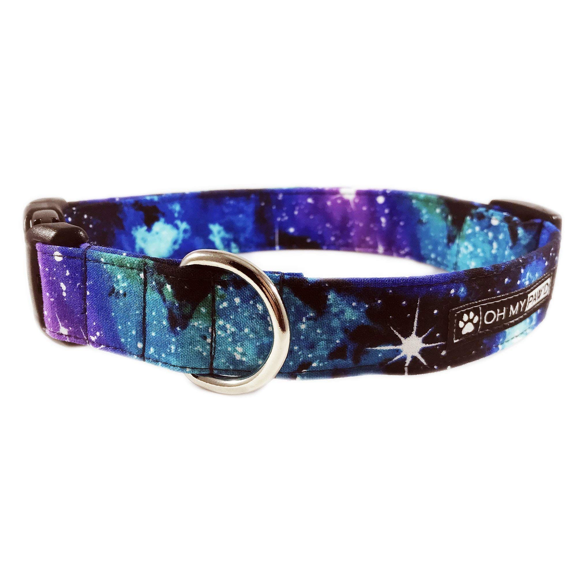 Hand Made Dog Collar - Galaxy Print Collar for Pets Size Medium 3/4'' Wide and 13-17'' Long by Oh My Paw'd