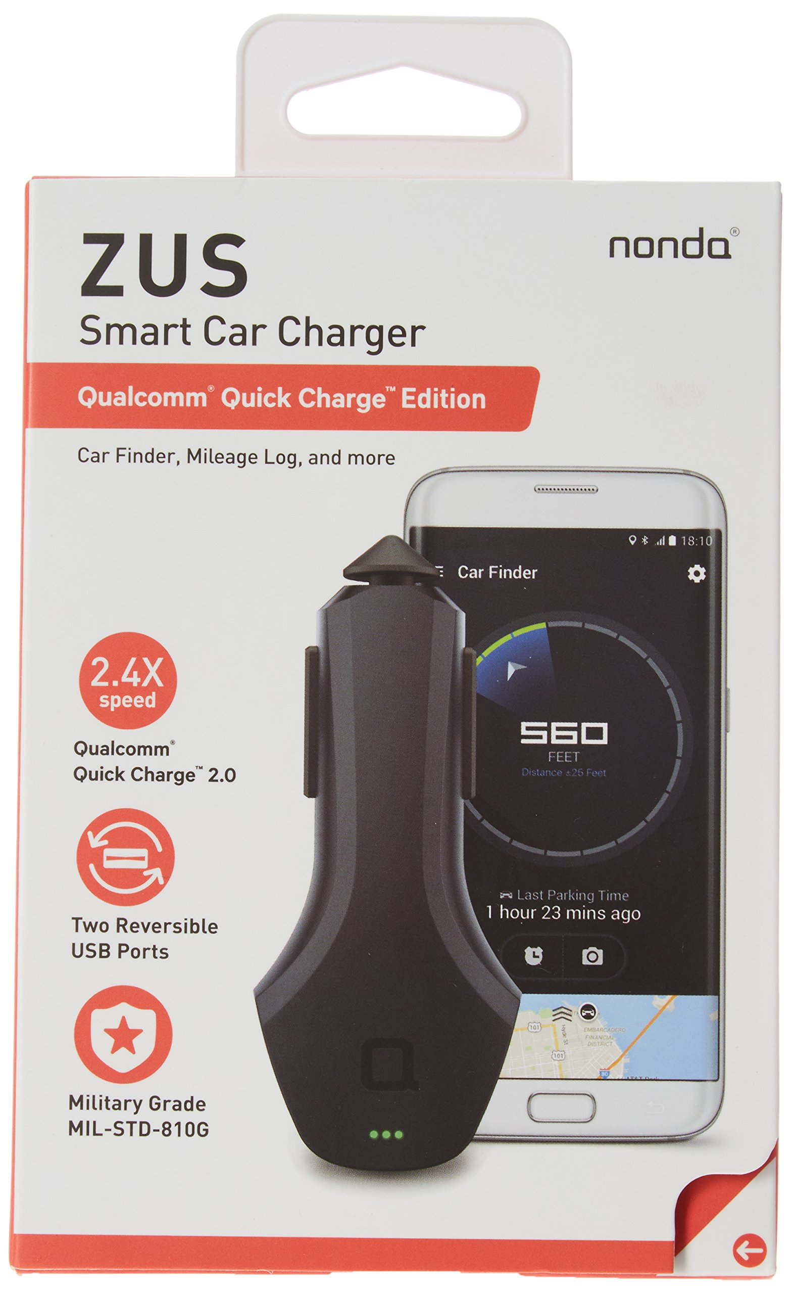 nonda ZUS Connected Car App Suite & Qualcomm Quick Charge 36W Smart Car Charger, Monitor Car Battery, Find Your Car - No OBD Port Required, Best Companion for Navdy, Automatic, Vyncs, Linxup, Carlock