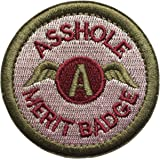 """SpaceAuto Asshole Merit Badge Military Tactical Morale Funny Patch - 2.48"""" Inches Diameter - Pink & Army Green"""