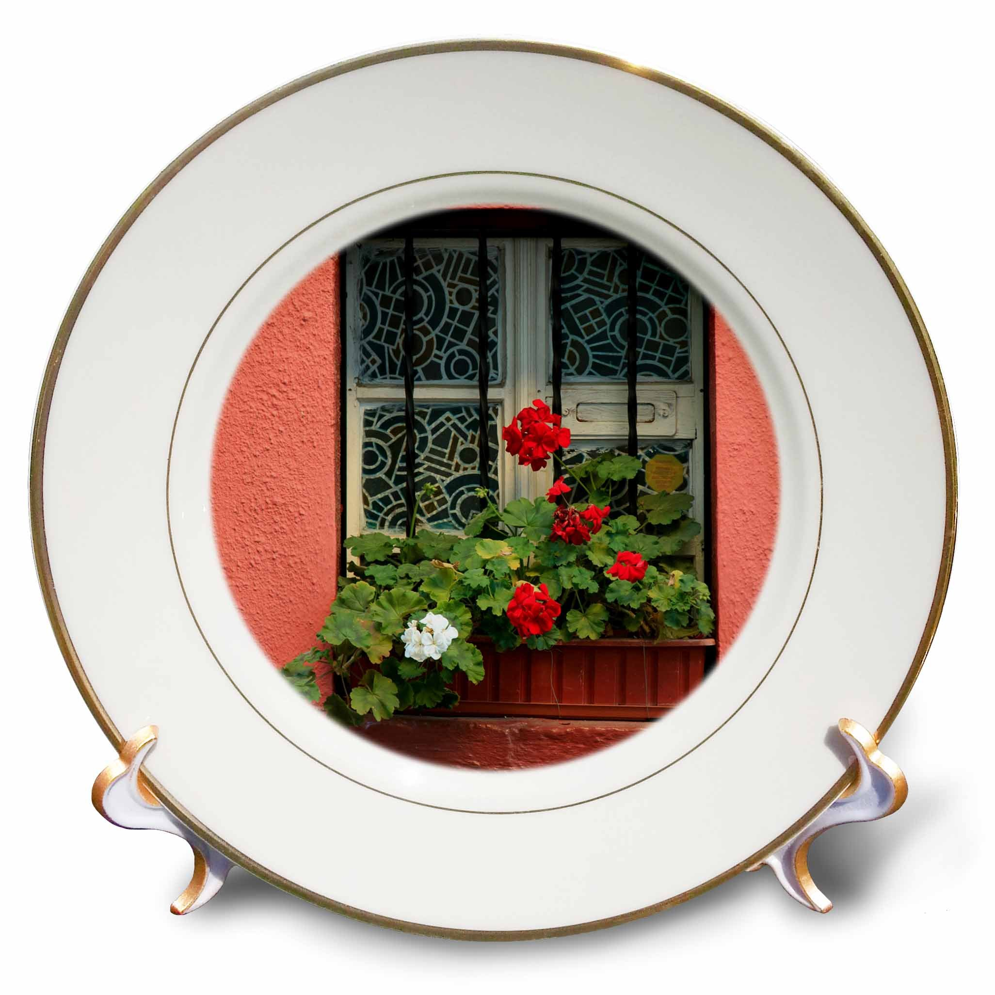 3dRose Danita Delimont - Flowers - Romania, Sighisoara, residential window in old town. Flowers in window - 8 inch Porcelain Plate (cp_277872_1) by 3dRose (Image #1)