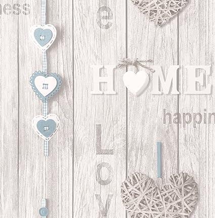 Fine Decor Love Your Home Wallpaper Blue Fd41719 Amazon Com