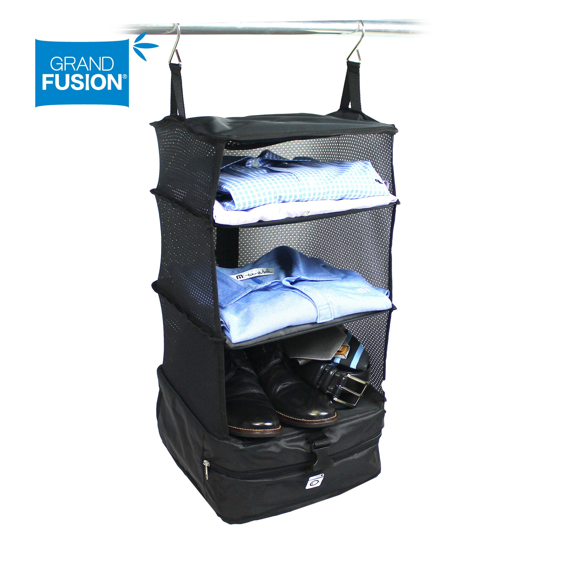 Stow-N-Go Portable Luggage System Suitcase Organizer - Small, Packable Hanging Travel Shelves & Packing Cube Organizer