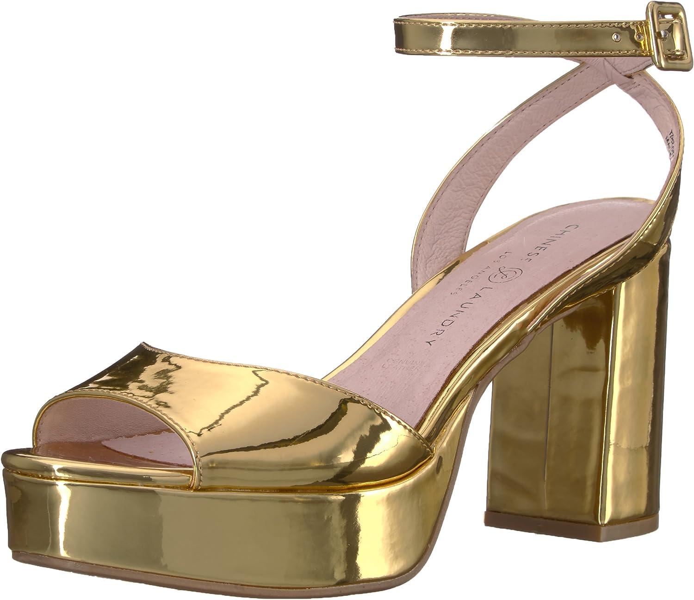 Chinese Laundry Women's Theresa Platform Dress Sandal, Gold Mirror ,55 M US