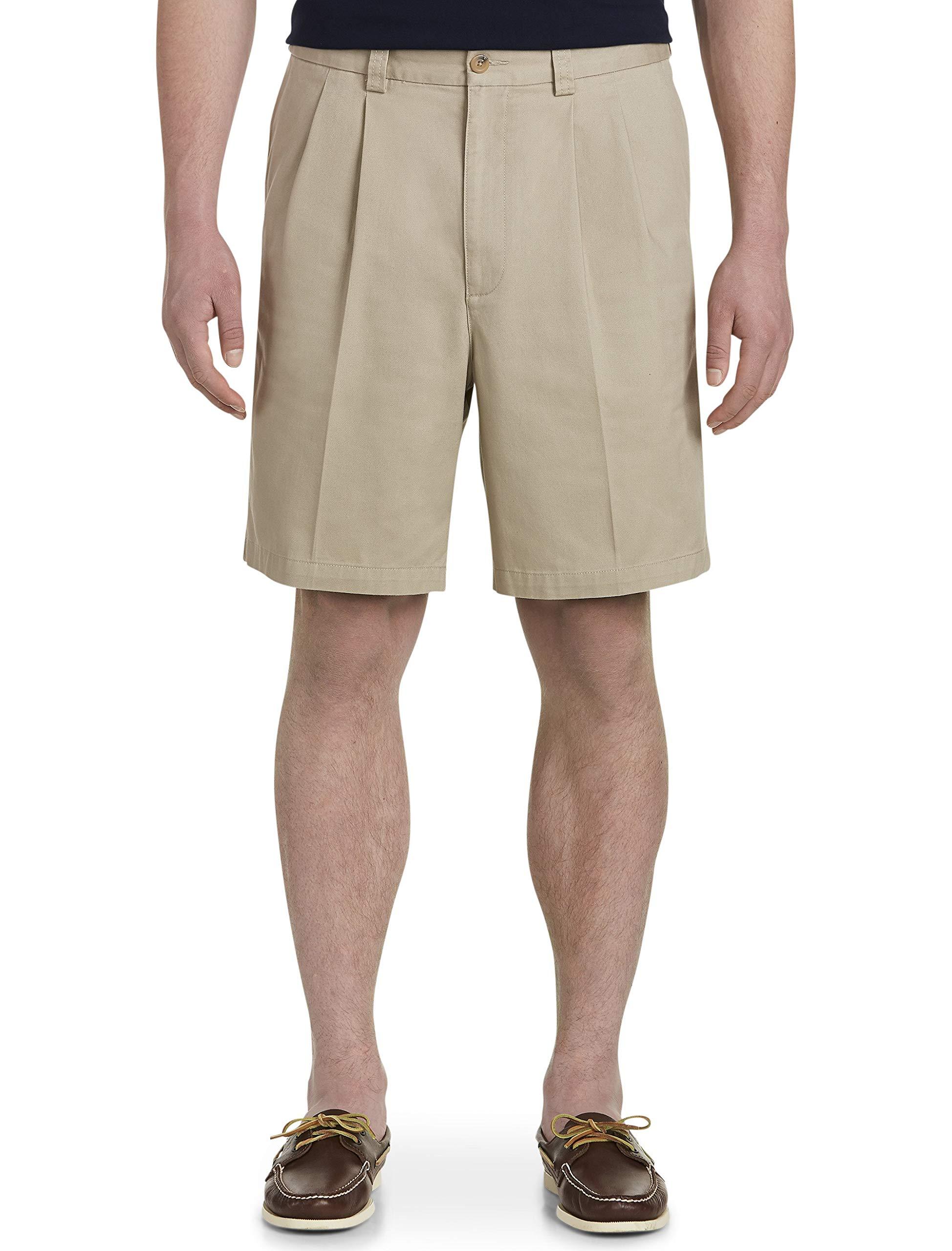 Harbor Bay by DXL Big and Tall Waist-Relaxer Pleated Twill Shorts, Khaki 44 Reg