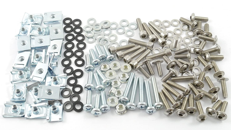 Tech-Parts-Koeln Motorrad Verkleidungsschrauben + Klemmen / Clips M6 Schrauben Set 6mm - 150 Teile