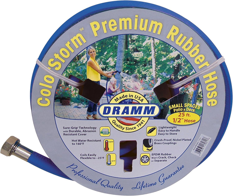 """Dramm 17035 ColorStorm Premium Rubber Garden Hose, 1/2"""" x25', Blue"""
