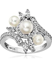 Platinum-Plated Sterling Silver Cubic Zirconia Bypass Freshwater Cultured Pearl Ring