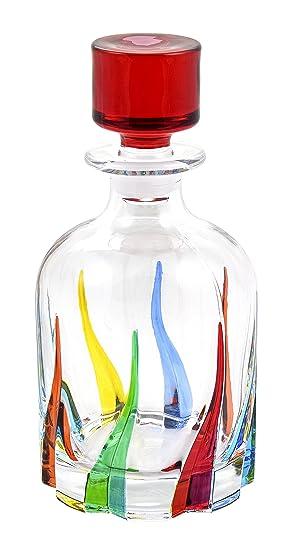 BOTTIGLIA TRIX Botella Cristal Mano Colores Pintadas Tradición Venecia