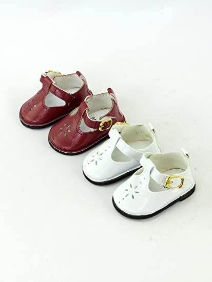 b25fe71465a1 Amazon.com   17 2 Pack of Mary Janes with Buckle  Burgundy and White ...