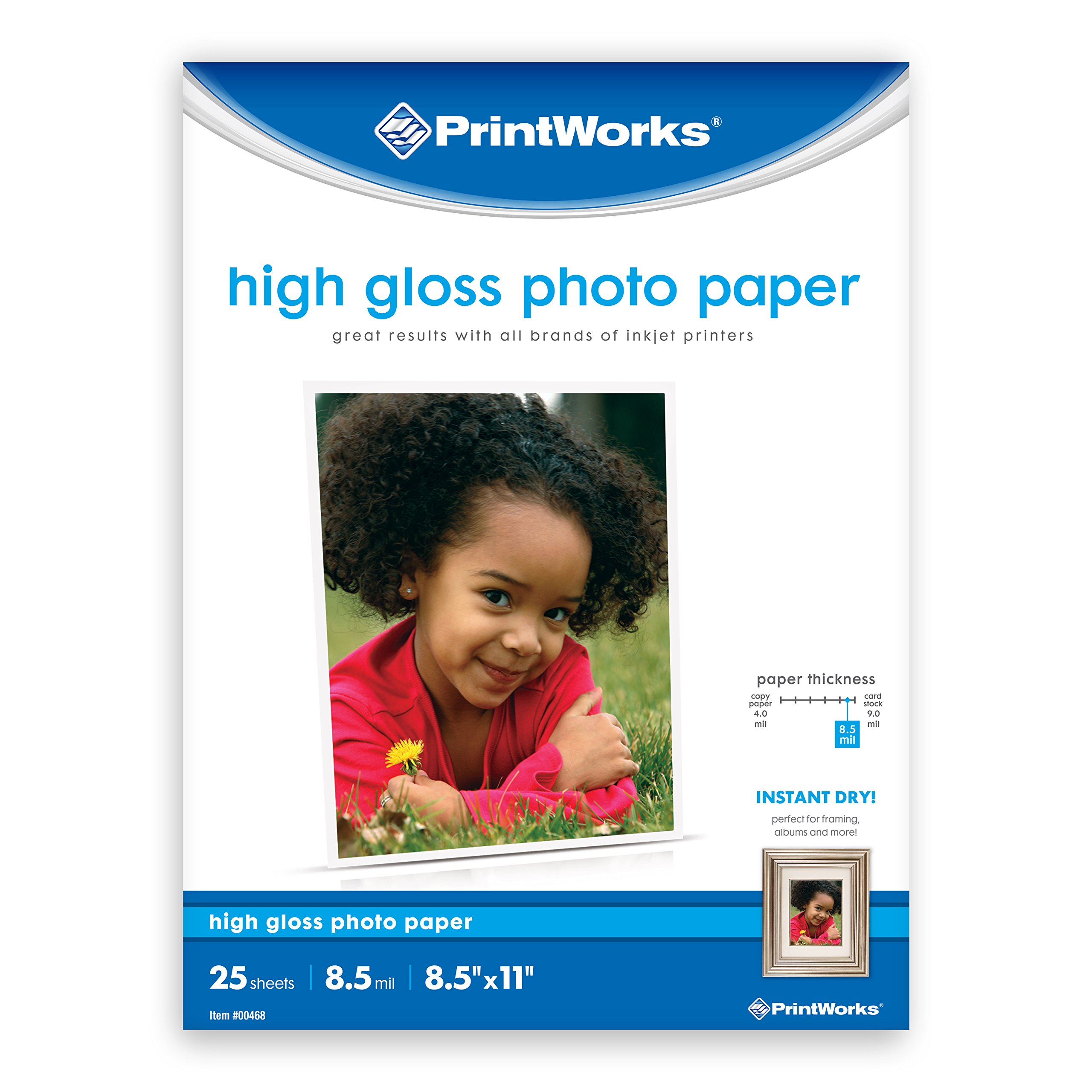 """Printworks High Gloss Photo Paper for Inkjet Printers, 8.5 mil, 25 Sheets, 8.5"""" x 11"""" (00468)"""