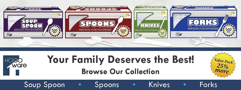HogoWare Plastic Spoons White Plastic-Ware Cutlery 500 Pieces Serving Wedding Cake Disposable Utensils Bulk Set Pie /& Desserts for Dinner Party