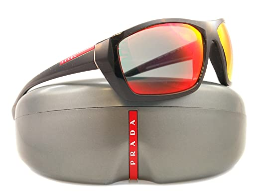 ec04a9801b97 Image Unavailable. Image not available for. Colour  Prada Linea Rossa Men s  01o Black Frame Red Multilayer Lens Plastic Sunglasses