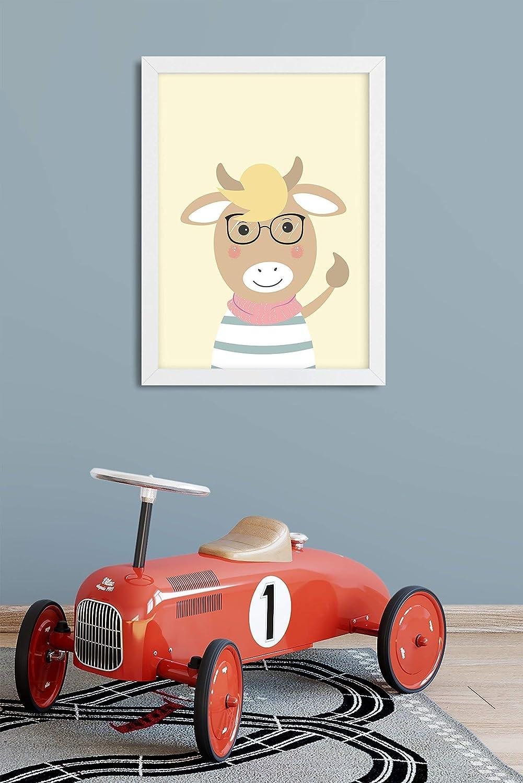 Kuh mit Brille Druck ohne Rahmen
