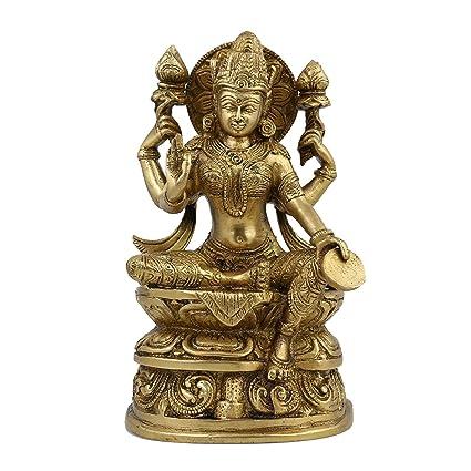 ShalinIndia Diosa Lakshmi Ídolo Hinduismo Estatua Creencia Y La Escultura; Latón; 4,75