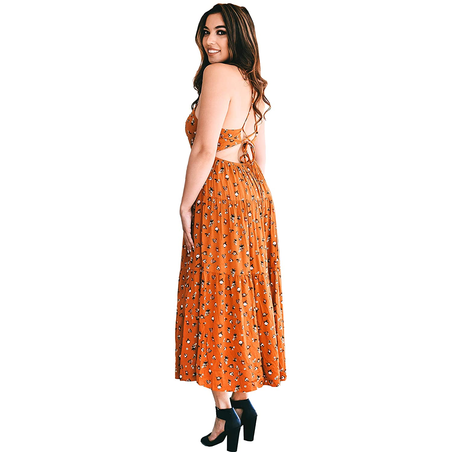 Elliott and Oliver Co. Bohemian Floral Maxi Dress Long Tiered Midi Dress Laced Strap Back Stretch Waist