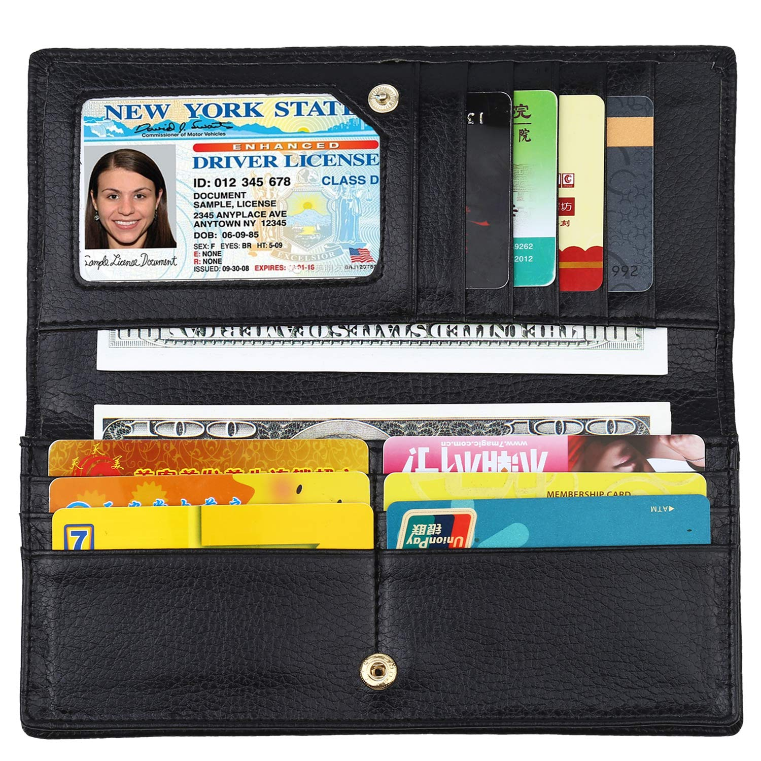Lavemi RFID Blocking Ultra Slim Real Leather Credit Card Holder Clutch Wallets for Women(Black1) by Lavemi