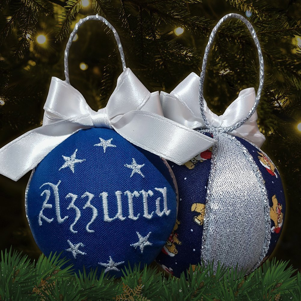 Crociedelizie, pallina di Natale con nome ricamato decorazione natalizia personalizzabile blu e lurex argento idea regalo