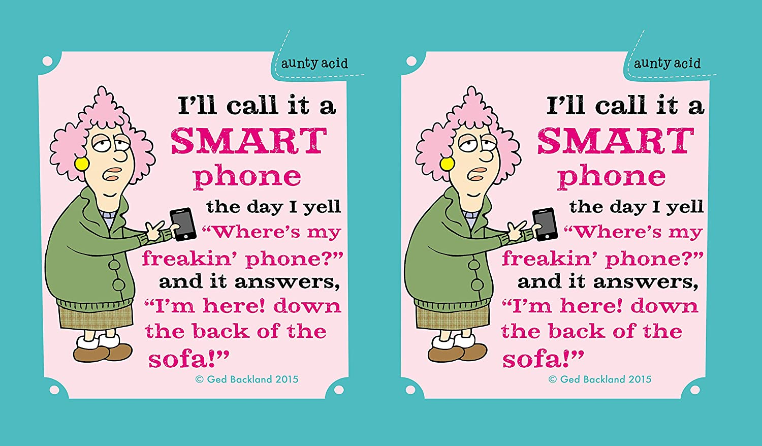 Tree-Free Greetings 16-Ounce Cool Cup with Reusable Straw CC98621 Aunty Acid Not So Smart Phone